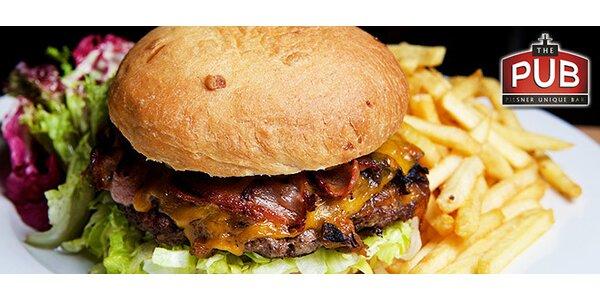 Dva velké hovězí hamburgery z nejlepších surovin s hranolkami