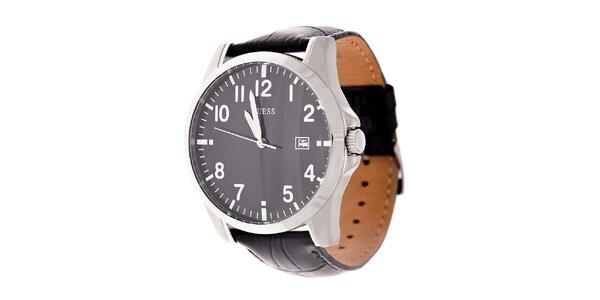 Pánské černé hodinky Guess s koženým páskem