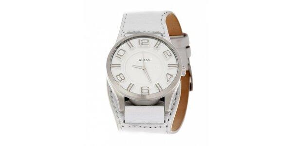 caf626e484c Pánské bílé hodinky Guess s koženým páskem