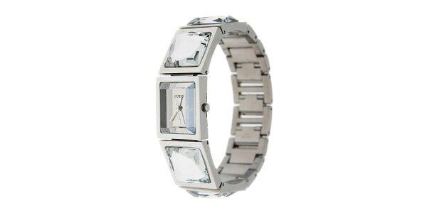 Dámské stříbrné náramkové hodinky Guess s broušenými kameny