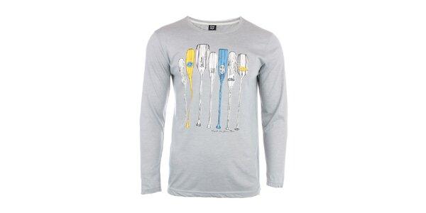 Pánské světle šedé triko s vodáckým potiskem Exe Jeans