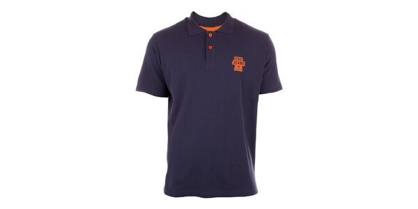 Pánské námořničky modré polo tričko Exe Jeans s oranžovými knoflíčky