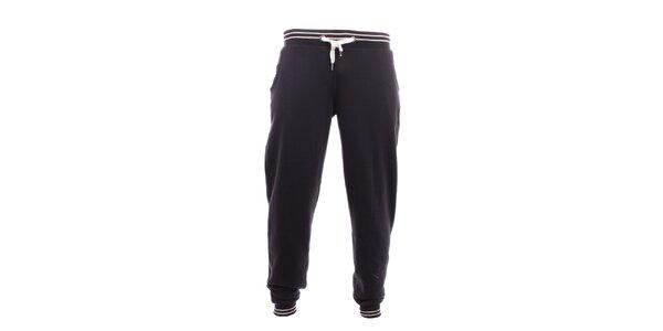 Pánské černé tepláky s bílými pruhy Exe Jeans