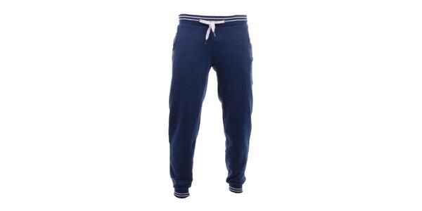 Pánské tmavě modré tepláky s bílými pruhy Exe Jeans