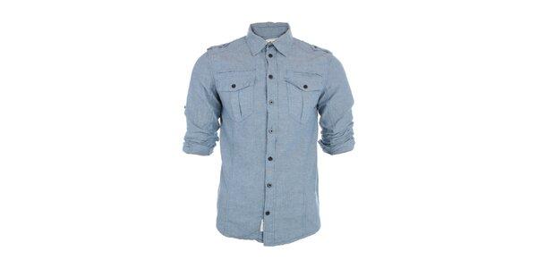 Pánská světle modrá košile Exe Jeans s dlouhými rukávy