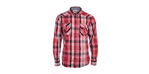 Pánská červeně kostkovaná košile Exe Jeans