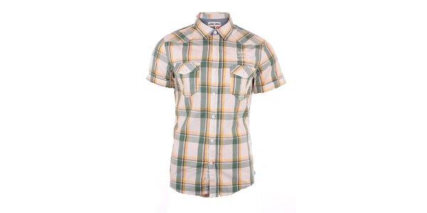 Pánská žluto-zeleně kostkovaná košile Exe Jeans