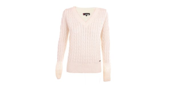 Dámský bílý svetr s véčkovým výstřihem Exe Jeans