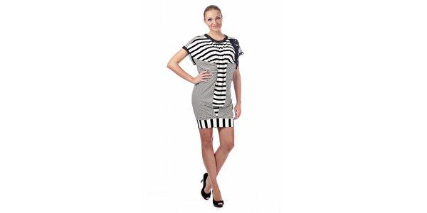 Dámské černobílé proužkované šaty Killah