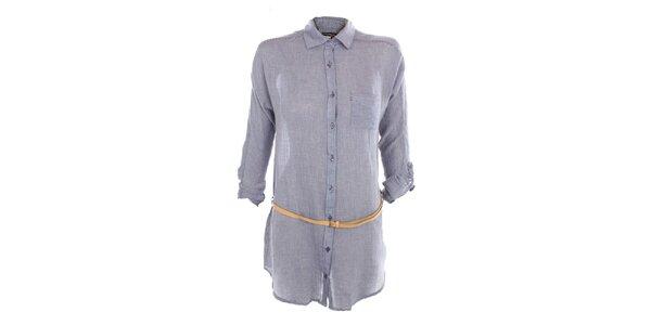 Dámské modré košilové šaty Exe Jeans s páskem