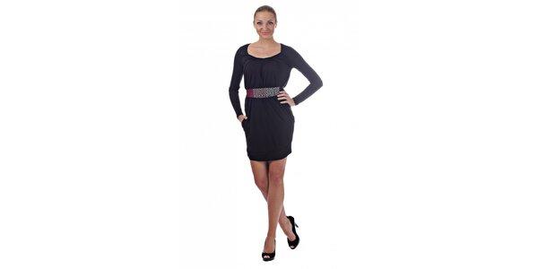 Dámské černé mini šaty Killah s barevným páskem