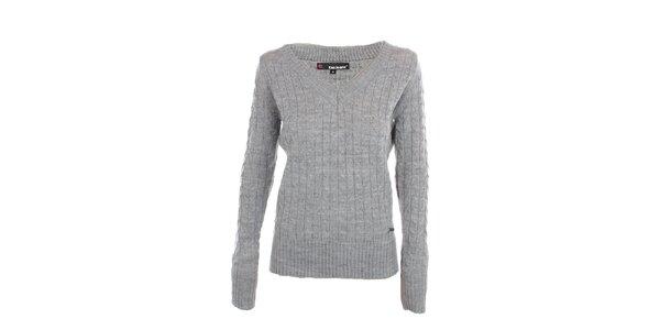 Dámský šedý svetr s véčkovým výstřihem Exe Jeans