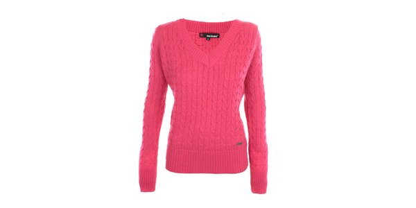 Dámský růžový svetr s véčkovým výstřihem Exe Jeans