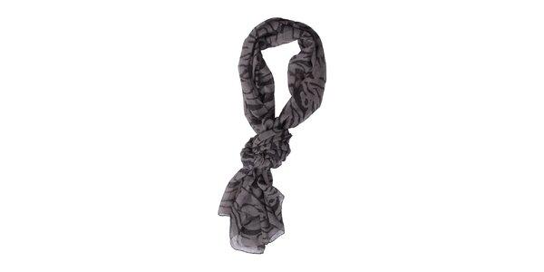 Dámský šedo-černý šátek Exe Jeans s potiskem
