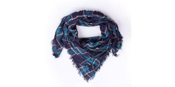Dámský modře kostkovaný šátek Exe Jeans