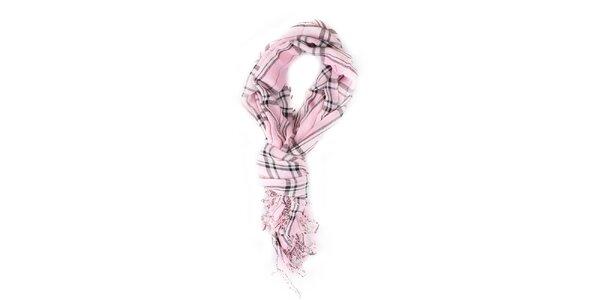 Dámský růžově kostkovaný šátek Exe Jeans