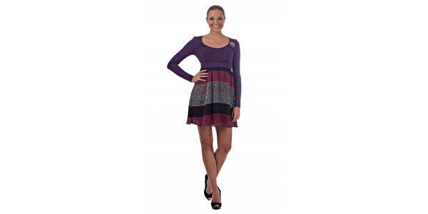 Dámské fialové šaty Killah s veselými puntíky