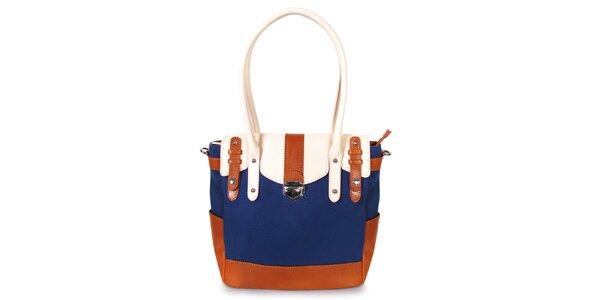Dámská tmavě modrá kabelka s karamelovo-bílými detaily Belle&Bloom