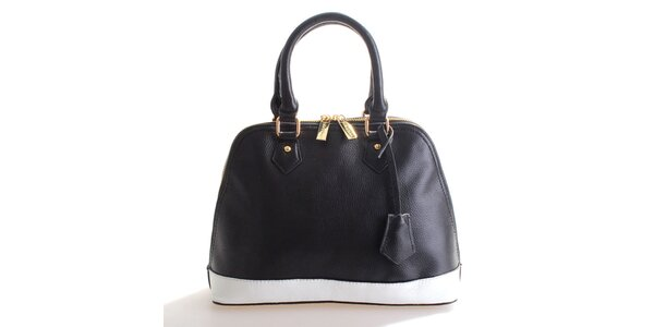 Dámská černo-bílá kožená kabelka Belle&Bloom
