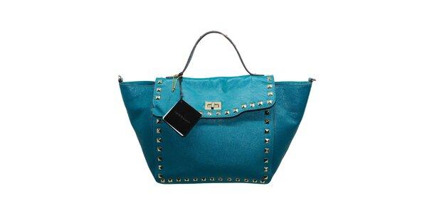 Dámská tyrkysová kožená kabelka s cvočky Belle&Bloom