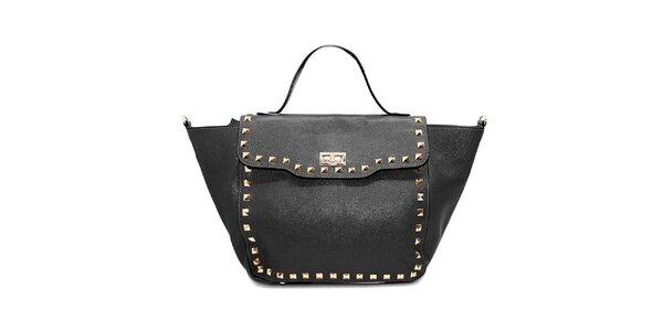 Dámská černá kožená kabelka s cvočky Belle&Bloom