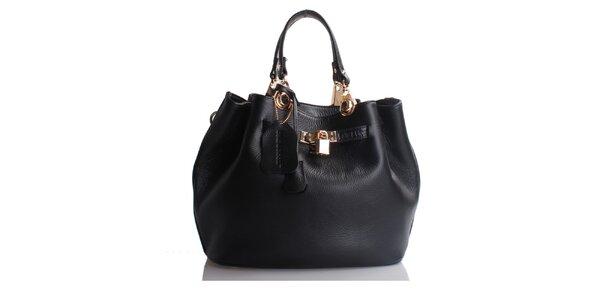 Černá kožená kabelka se zámečkem Belle & Bloom