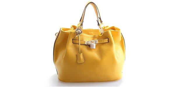 Dámská citronově žlutá kožená kabelka Belle & Bloom