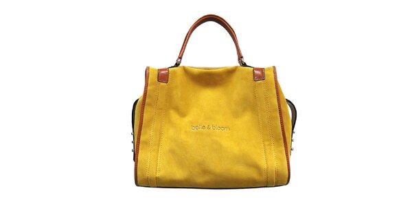 Dámská žluto-karamelová kožená kabelka Belle&Bloom
