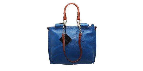 Dámská azurově modrá kožená kabelka Belle&Bloom