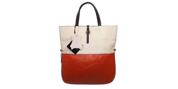 Dámská oranžovo-krémová kožená kabelka Belle&Bloom