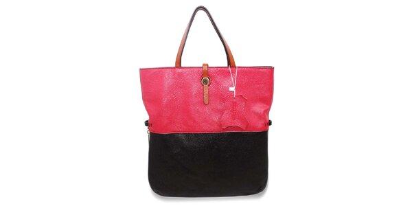 Dámská fuchsiovo-černá kožená kabelka Belle&Bloom