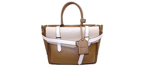 Dámská béžovo-krémová kabelka s přezkami Belle&Bloom