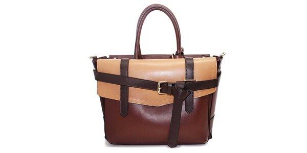 Dámská hnědo-béžová kabelka s přezkami Belle&Bloom