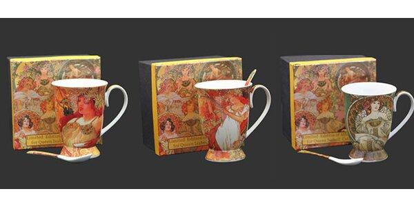 Porcelánové hrnky s motivy Alfonse Muchy