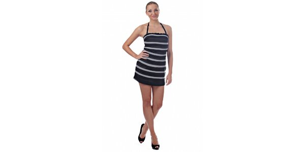 Dámské šedočerné proužkované mini šaty Killah