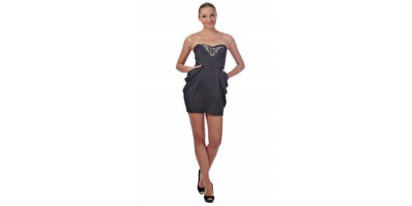 Dámské tmavě šedé koktejlové šaty Killah