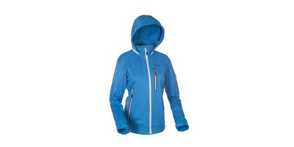 Dámská modrá softshellová bunda Envy s bílými zipy