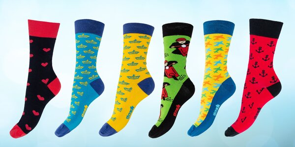 Vysoké barevné ponožky české výroby: 7 variant