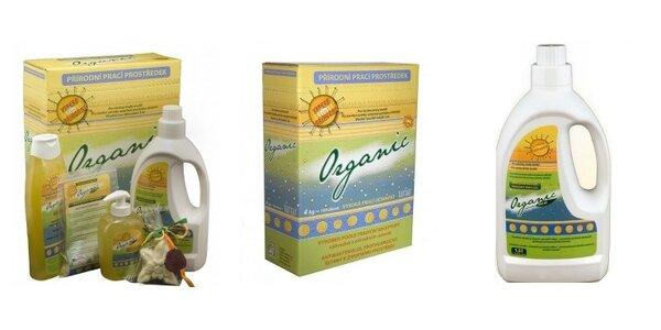 100% přírodní praní v přírodním pracím prostředku značky Organic
