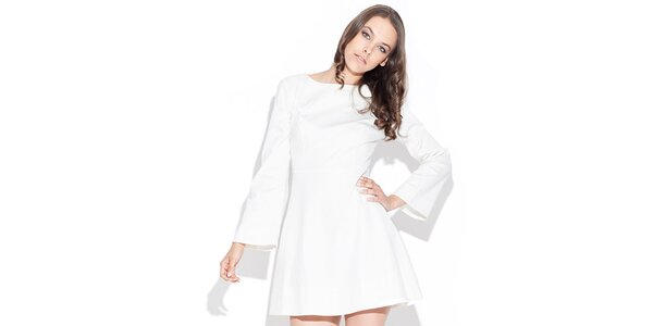 Dámské lesklé bílé šaty Katrus