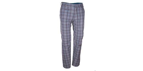 Pánské světle šedé kostkované kalhoty Envy