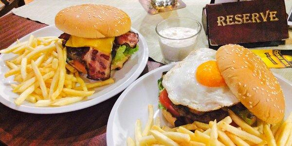 Masový či vege burger pro dva i k odnosu či rozvozu