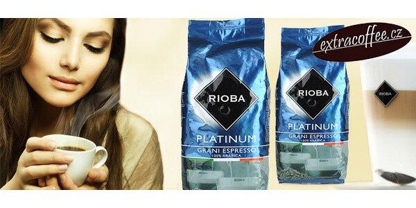 2 kg kvalitní zrnkové kávy Rioba Platinum 100% Arabica