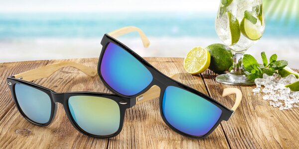 Bambusové sluneční brýle: sklíčka v 6 barvách