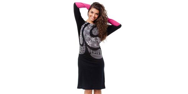 Dámské černé šaty Avispada se zimním motivem