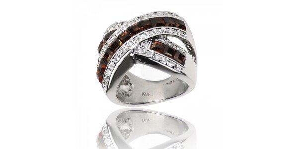 Dámský stříbrný prsten Bague a Dames s hnědými kameny