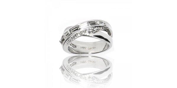 Dámský stříbrný prsten Bague a Dames se zirkony a krystaly