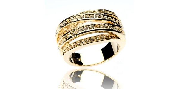 Dámský zlatý prsten Bague a Dames se zirkony