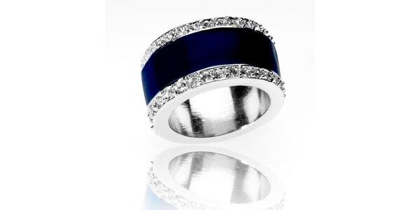 Dámský stříbrný prsten Bague a Dames se zirkony a modrým pruhem