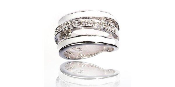 Dámský stříbrný prsten Bague a Dames se zirkony a bílými perleťovými proužky